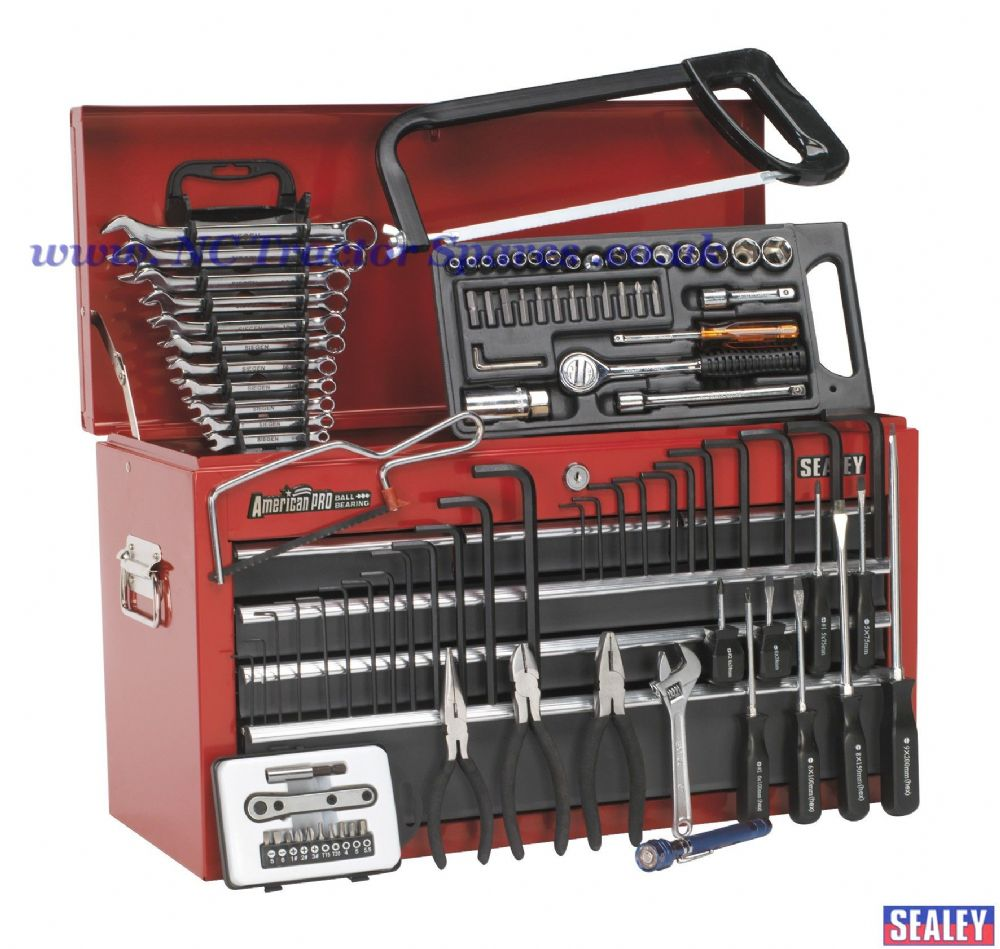 Topchest 6 Drawer with Ball Bearing Runners - Red/Grey & 99pc Tool Kit